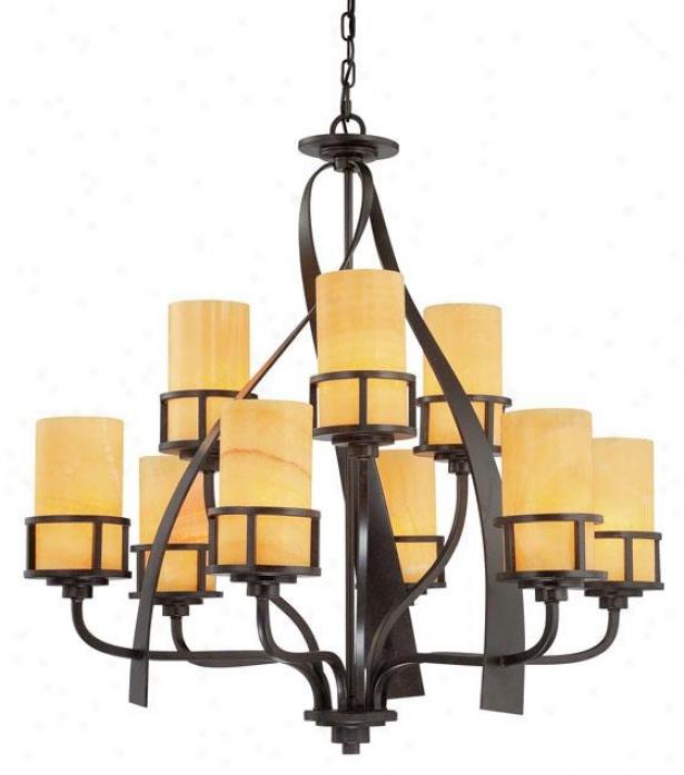 Evan 9-light Chandelier - 9-light, Gold Bronze