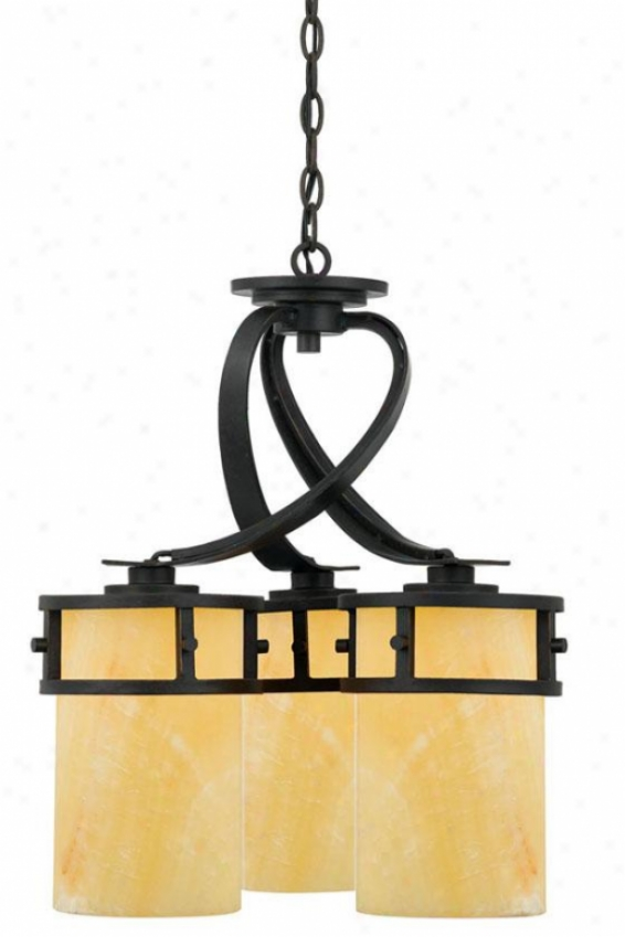 Evan Dinette Chandelier - 3-light, Gold Bronze