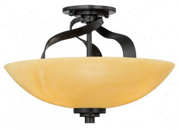 Evan Semi-flush Mount - 3-light, Gold Bronze