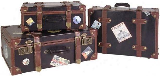 Explorer Suitcases - Set Of 3 - Set Of 3, Brown