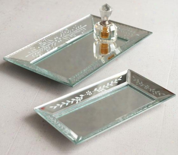 Exquisite Hand-etched Mirror Trays - Set Of 2 - Set Of 2, Silver