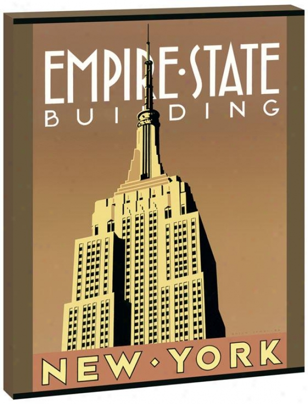Famous Buildings Wall Art - Empire State, Yellow Orange