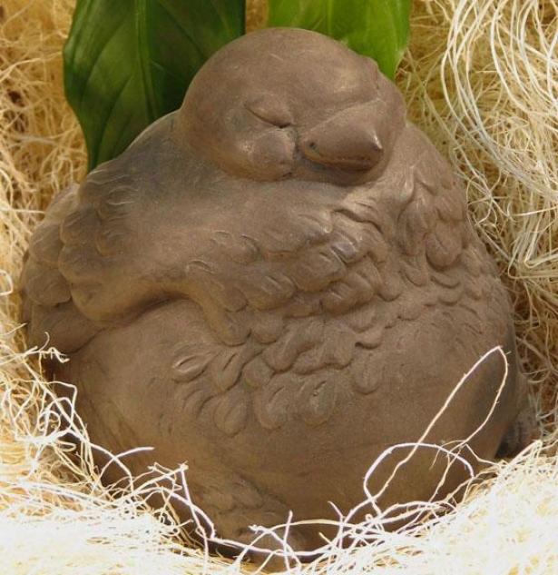 Fat Bird Statue - 6h5.5wx6.25d, Brown Wood
