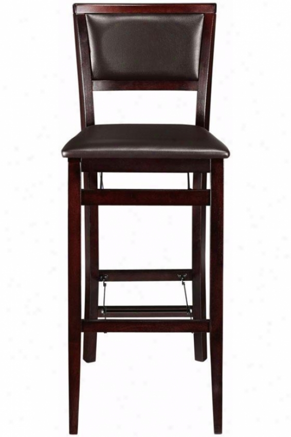 Faux Leather Foldable Bar Stool - Bar Height, Brown
