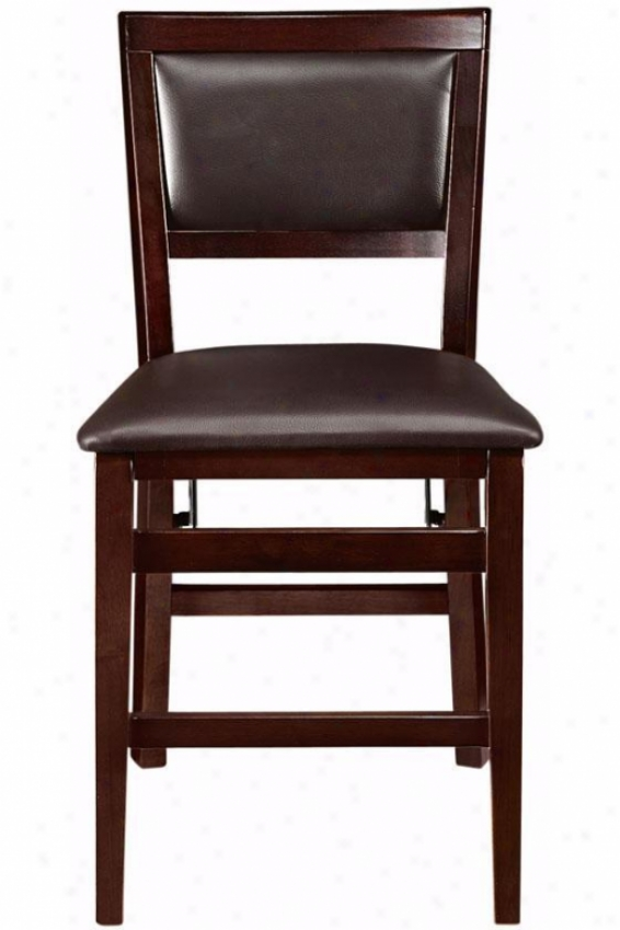 Faux Leather Foldable Chair - Chair Height, Brown