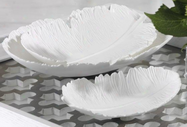 Feather-shaped Trays - Set Of 3 - Set Of 3, Whute