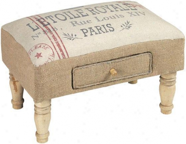 """feedsack Foot Stool - 10""""hx16""""w, Ivory"""