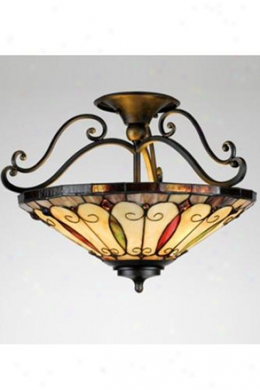 Felice Semi-flush Mount - Glass, Gold Harden