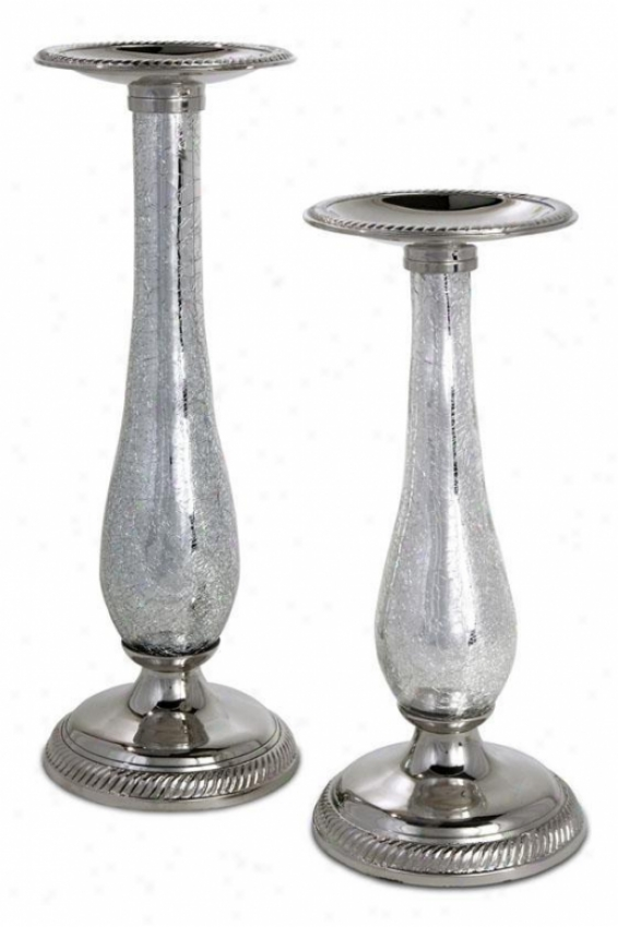 Femme Pillar Candleuolders - Set Of 2 - Set Of 2, Silver