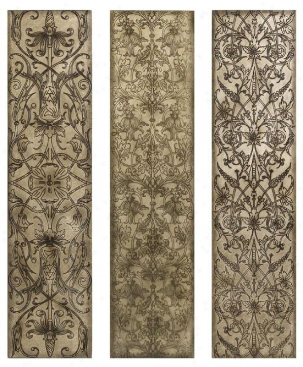 Filigree Pattern Wall Panels - Set Of 3 - Set Of Three, Beige