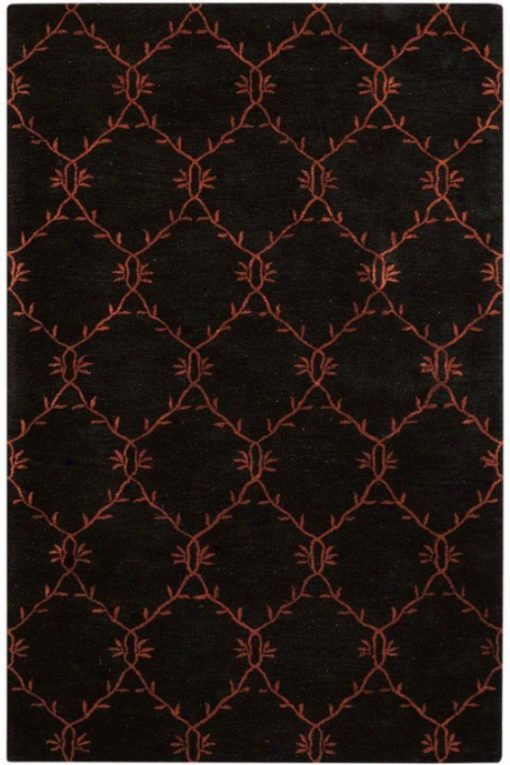 """filigree Rug I - 5'5"""" Round, Charcoal"""