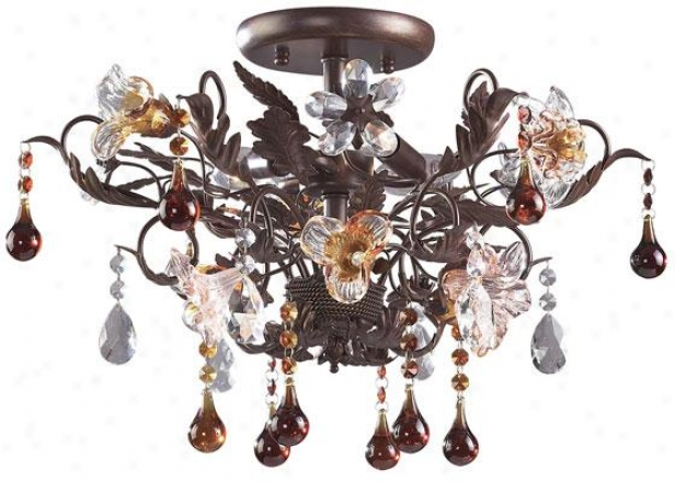 """fiore Di Vetro 13""""h Semi-flush Mount - 3-light/a, Sagacious Rust"""