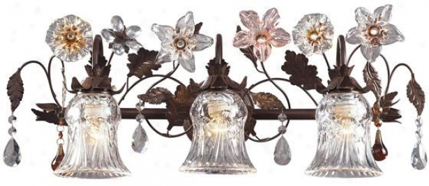 Fiore Di Vetro Floret Vanity - 3-light/b, Deep Rust