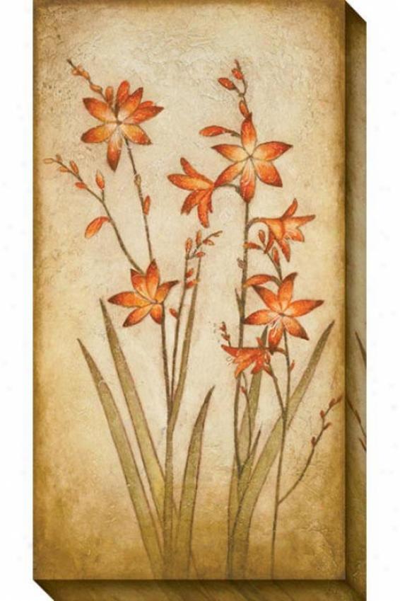 Fire Plant Ii Canvas Wall Art - Ii, Cream