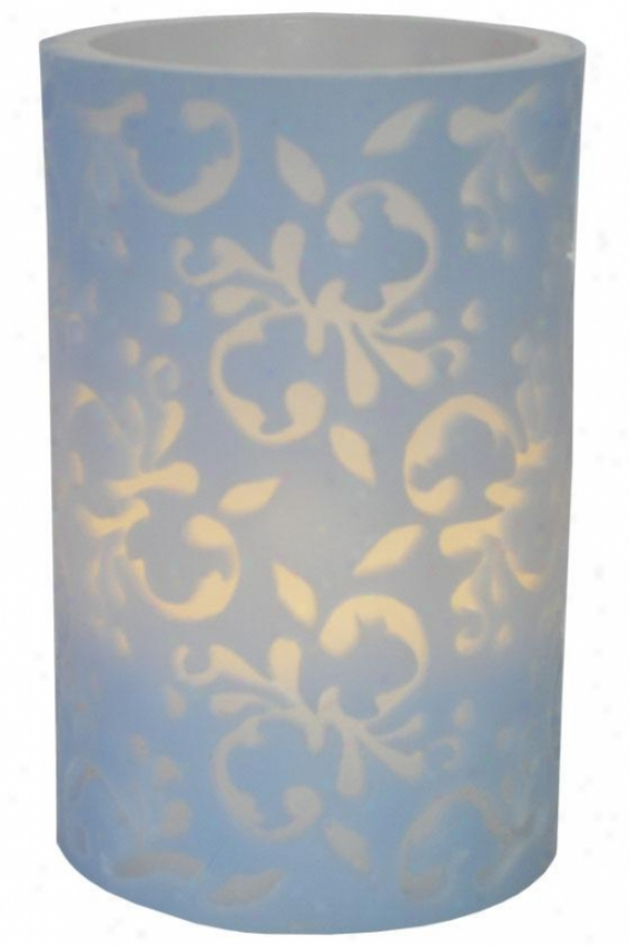 """flameless Overlay Candle - 6""""h X 4""""w X 4""""d, Blue"""