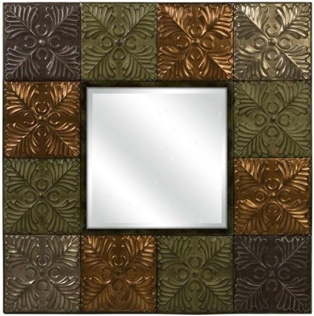 """flamenco Medallion Tile Mirror - 31.5""""hx31.5""""w, Brown"""