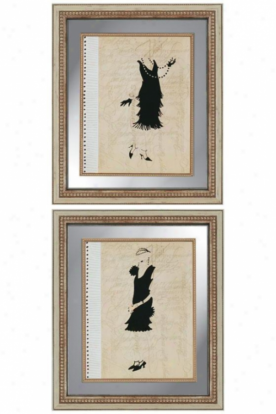 Flappers Wall Art - Determined Of 2 - Regulate Of 2, Black