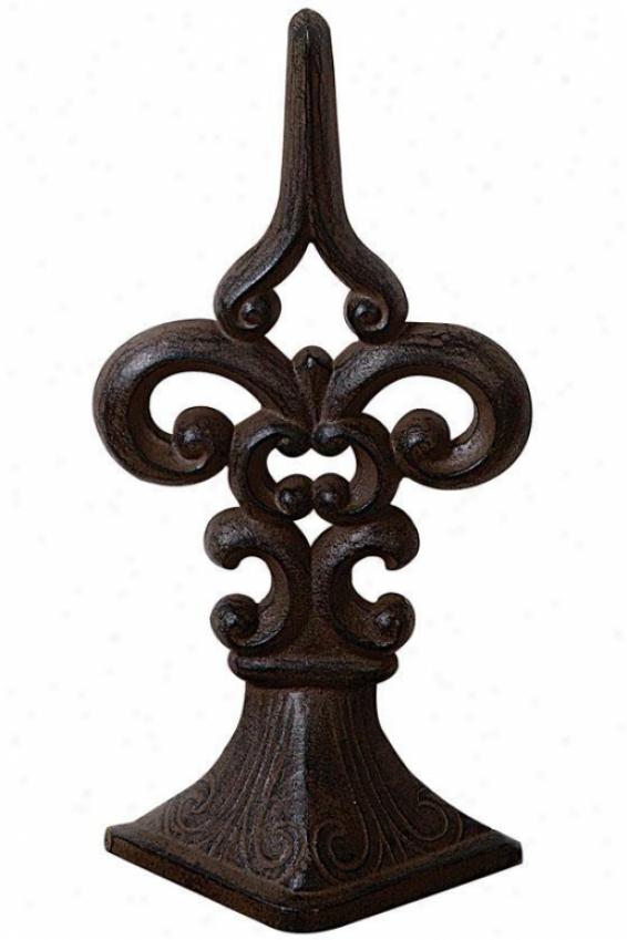 Fleur De Lis Door Stopper - 7x3.5, Bronze