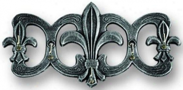 """fleu De Lis Key Holder - 4""""hx8""""w, Pewter"""