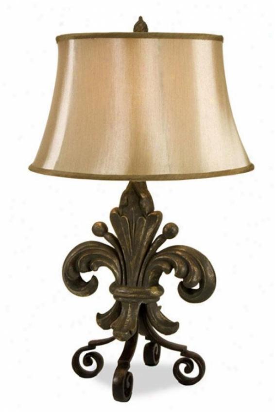 """""""fleur De Lis Lamp - 33""""""""hx19""""""""d, Brown"""""""