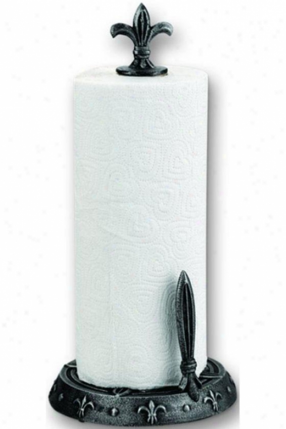 """fleur-de-lis Standing Paper Towel Holder - 15.25""""h, Pewter"""