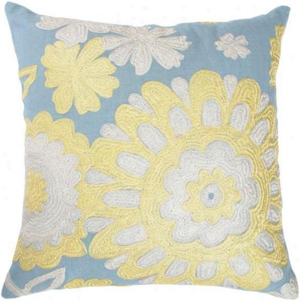 """""""flora Pillow - 18""""""""x18"""""""", Blue"""""""