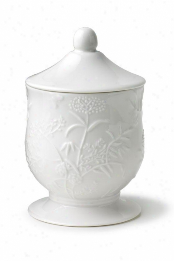 Floral Butterfly Cotton Jar - Cotton Jar, White Porcelain