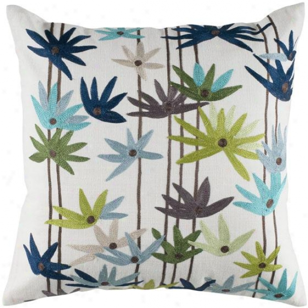 """""""floral Frenzy Pillow - 18"""""""" Square, Blue"""""""