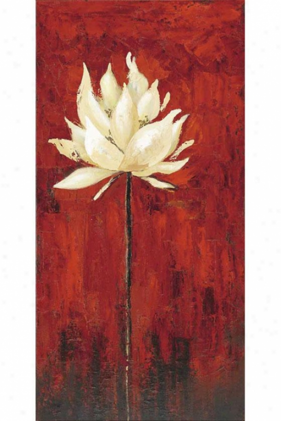 """floral I Canvas Wall Art - 47""""""h X 23""""w, Red"""
