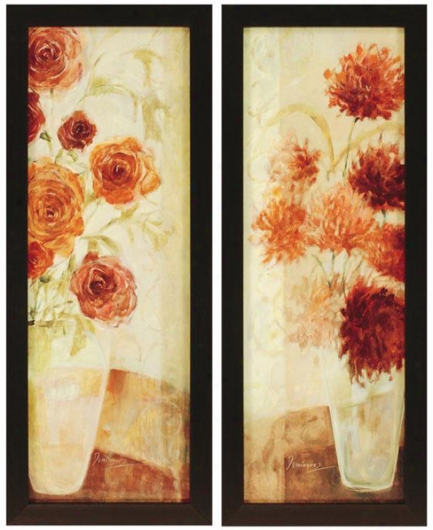 """floral Infusion Wall Art - Set Of_2 - 40""""hx26""""w, Ivory"""