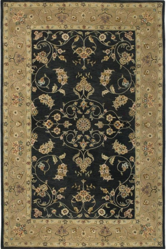 """""""floral Ispaghan Superficial contents Rug - 3'6""""""""x5', Black"""""""