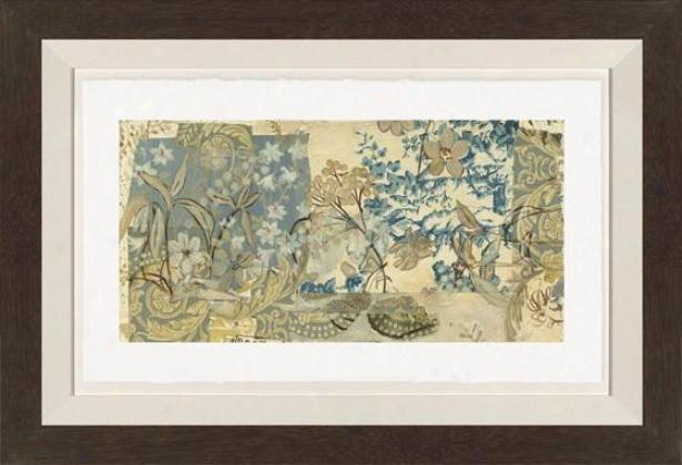 Flourishing Past I Wall Art - Black Frame, Blue