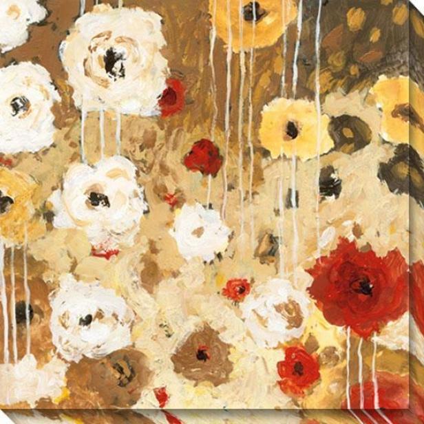 """flower Dance I Canvas Wall Art - 40""""hx40""""w, Tan"""