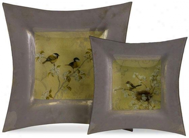 """flowering Tree And Song Fowl Chargers - Set Of 2 - 13""""square, Silver/green"""