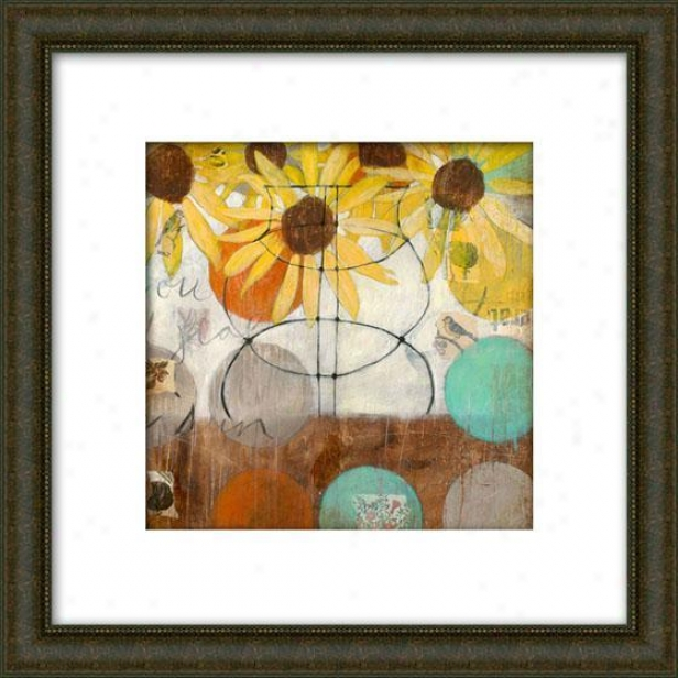 Flowers And Circles Setting Ii Framed Wall Art - Ii, Matted Burlwood