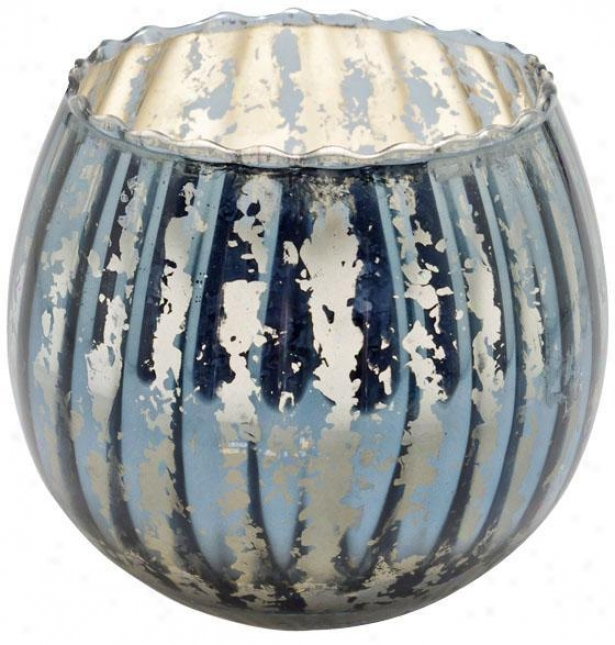 """fluted Mercury Bowl Candle - 4.5""""h, Slate Blue"