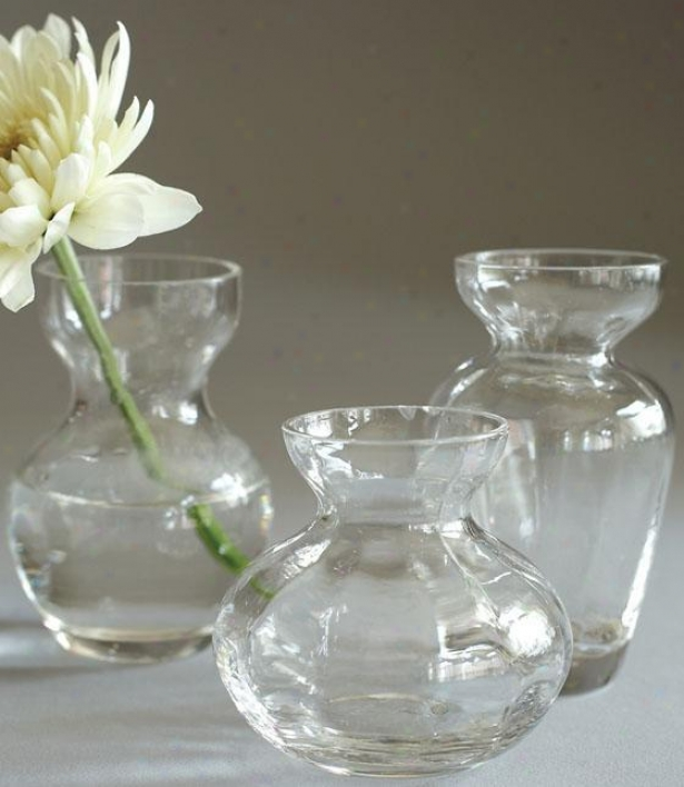 Fluted Trio  Bud Vases - Set Of 3 - Set Of 3, Clear