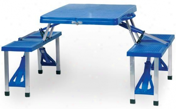 """folring Table And Seats - 26.25""""hx53""""w, Royal Azure"""