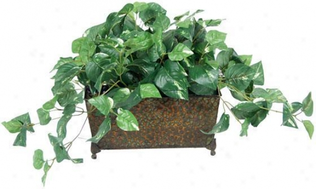 """foliage In Metal Ledge Arrangement - 12""""hx14""""w, Green"""