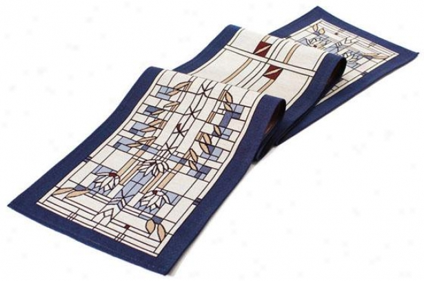 Frank Lloyd Wright  Waterlillies Table Linens - Runner, Blue