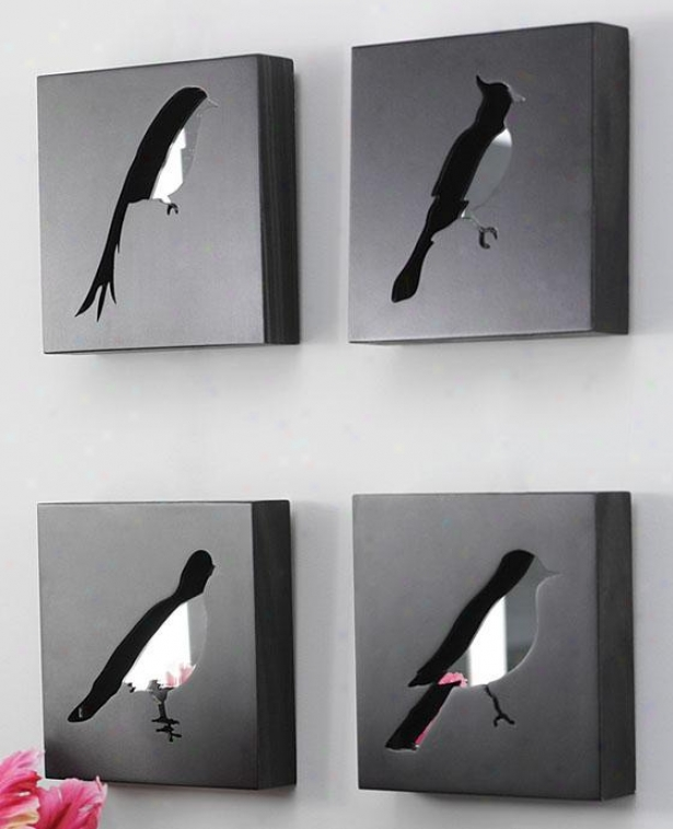 """free Bird Square Mirrored Shadow Boxes - Set Of 4 - 7""""sq Set Of 4, Black"""