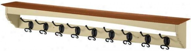 French Country Coat Rack - 9-hook, Ivory