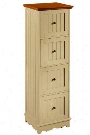 French Country Four-drawer Letter- And Legal-size File Cabinet - Four-drawer, Ivory