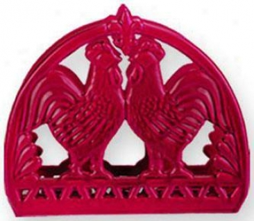 """french Country Rooster Napkin Holder - 6""""hx5""""wx2""""d, Red"""