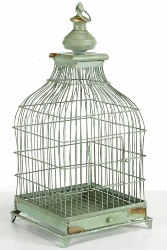 """french Distressed Fowl Cage - 22""""hx11""""sq, Green"""