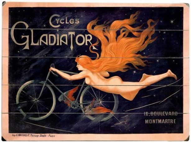 """""""french Gladiator Bicycles Wooden Sign - 20""""""""hx14""""""""w, Black"""""""