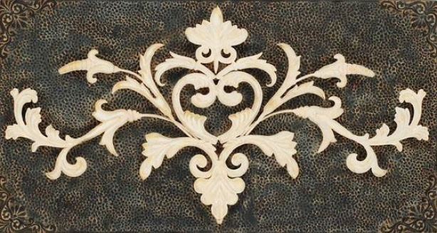 """french Scroll - 19""""hx36""""w, Gray/ivory"""