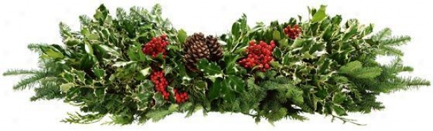 """Unsalted Holly Deluxe Holly And Greens Table Runner - 34"""", Green"""