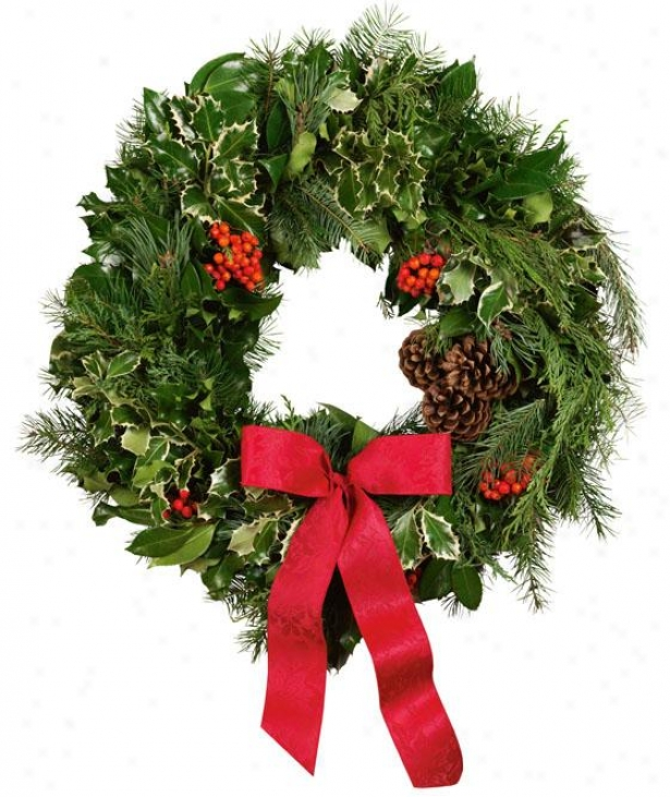 """fresh Holly Deluxe Holly And Greens Wreath - 36"""", Gren"""