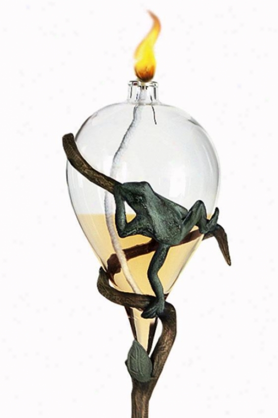 """frog Oil Lamp And Staek - 52""""hx6.5""""wx5.5"""", Brass Verdigris"""